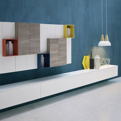 Wall hung modern media unit