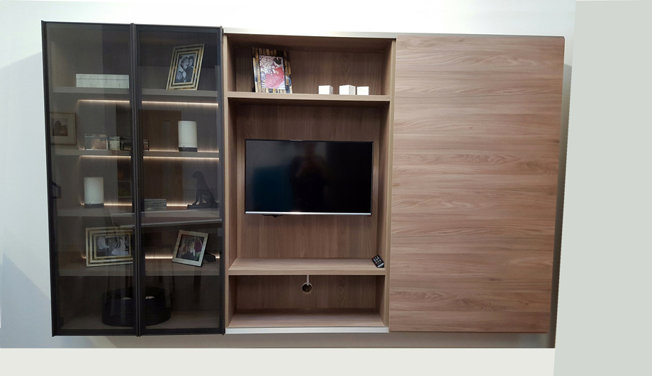 Media unit weathered elm with LED lights