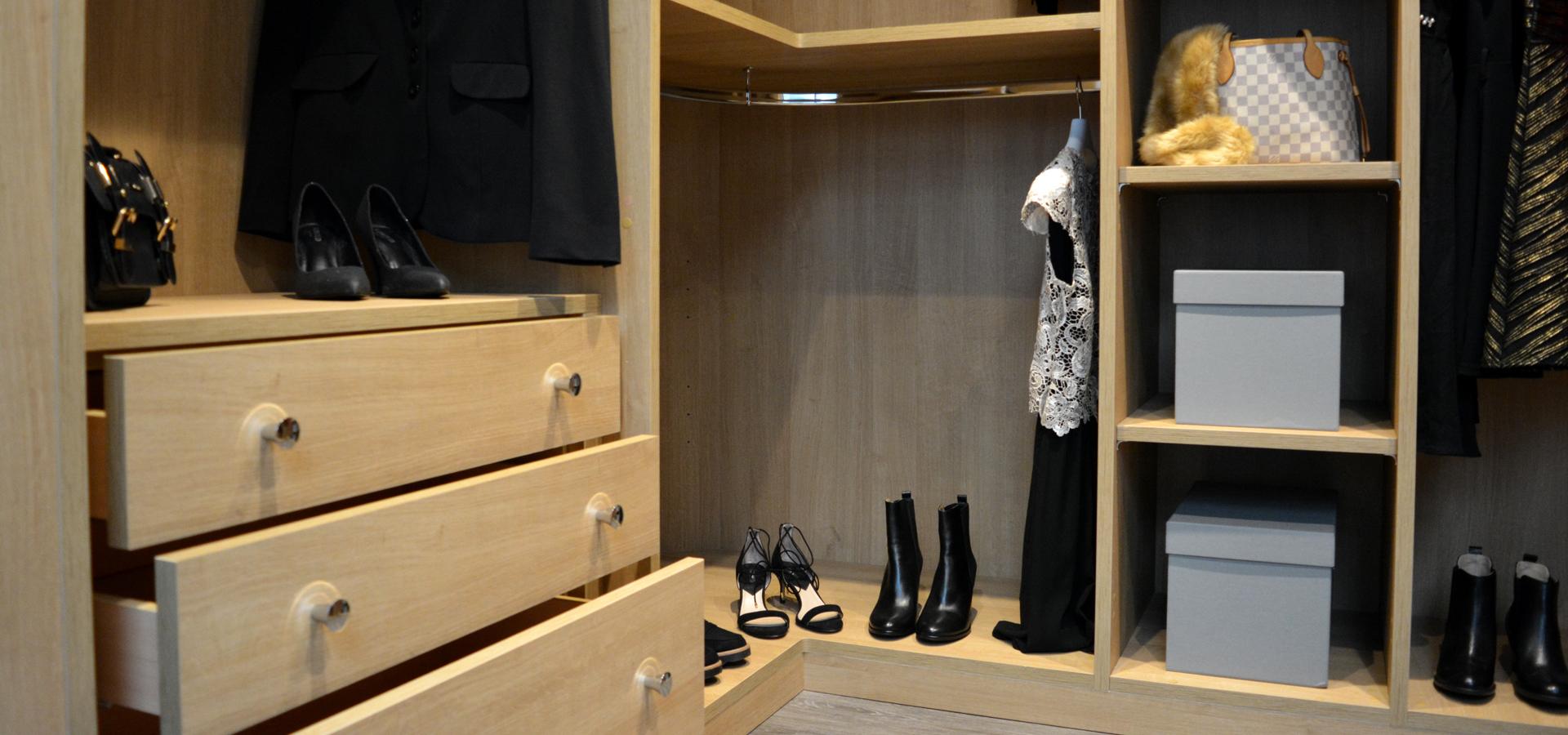 Quintessentially British trojan Oak Walk in wardrobe