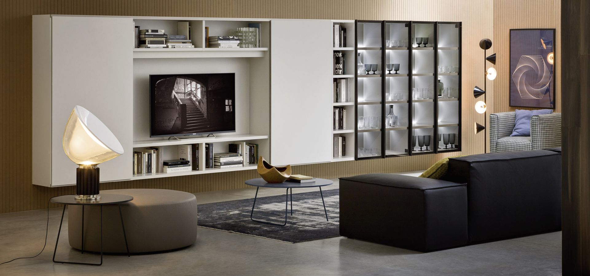 Modern media unit with glass doors and LED lighting