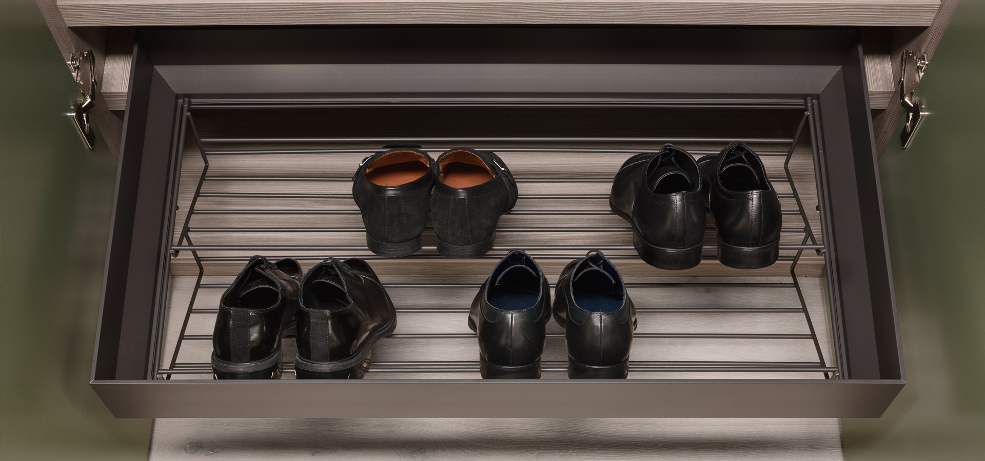 Pull out shoe rack in burnished finish