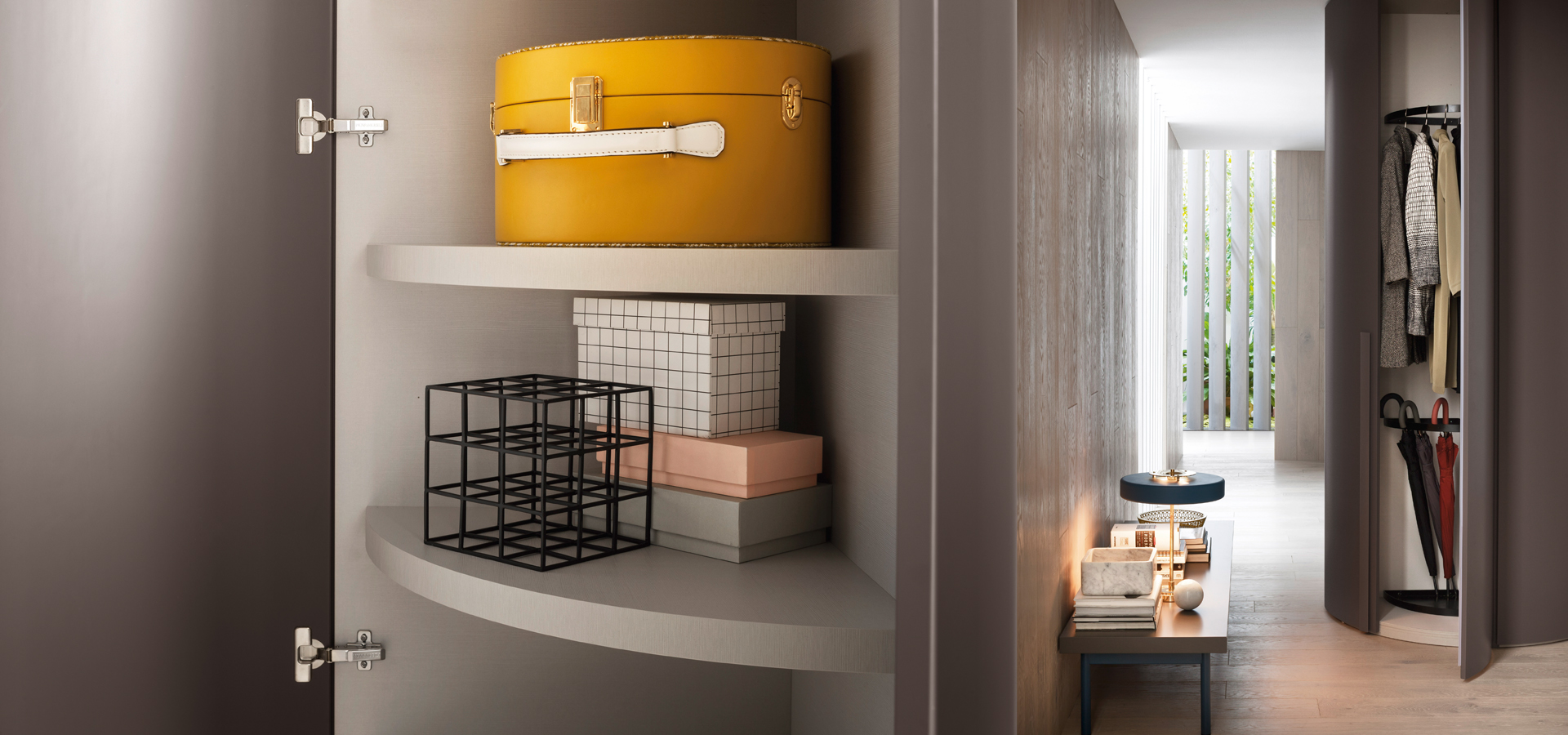 Alfa curved wardrobe interiors