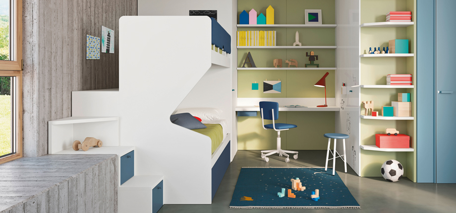 Modern bunk bed and storage ideas. Working area with shelving and wardrobe behind