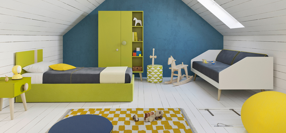 Green children's bedroom idea