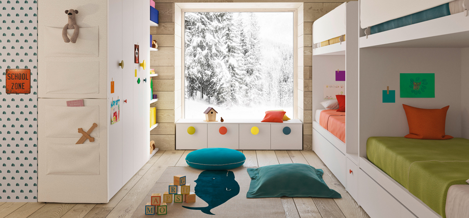 Children's bedroom with multi coloured handles