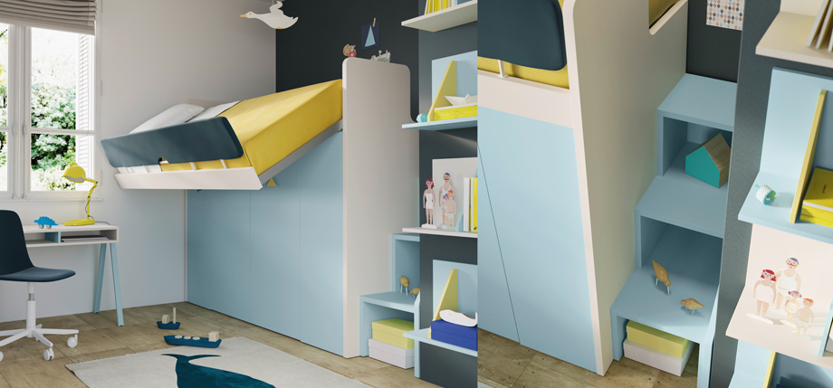 Storage stairs, tipping bed with storage below in blue