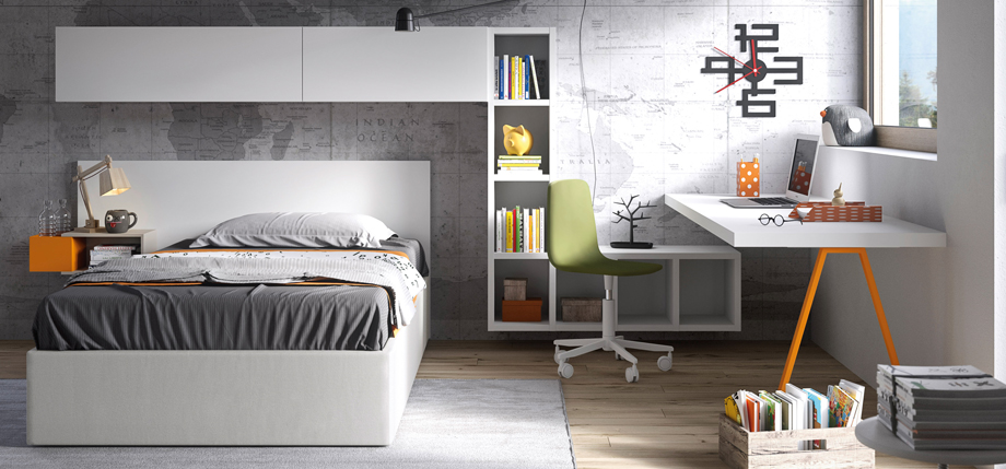 Teenage bedroom with rest and study area