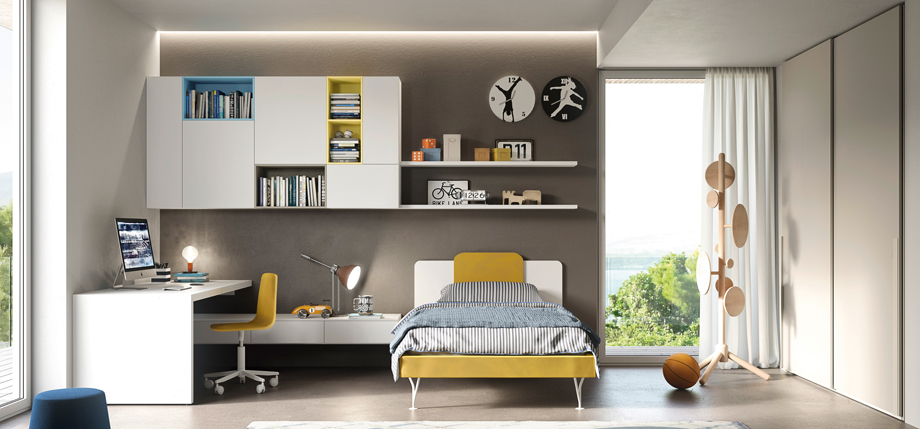 Teenage bed and storage area combining come bright colours with white