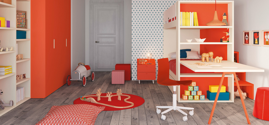 Red Children's Bedroom bookshelf bed end