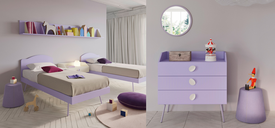 Lilac bedset area with drawers to match