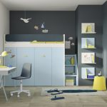 Children's bedroom furniture set with cabin bed and storage below